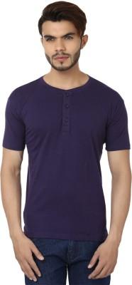 Bajo Solid Men's Henley Purple T-Shirt