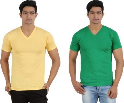 Lyril Solid Men's V-neck Green, Yellow T-Shirt
