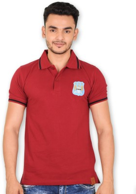 Manchester City FC Solid Men's Polo Neck Maroon T-Shirt