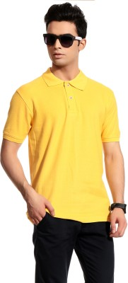 Brohood Solid Men's Polo Neck Yellow T-Shirt