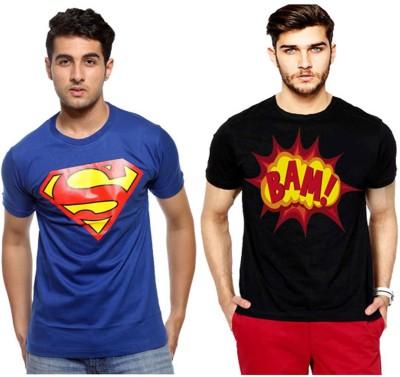 Bornify Printed Men's Round Neck Blue T-Shirt