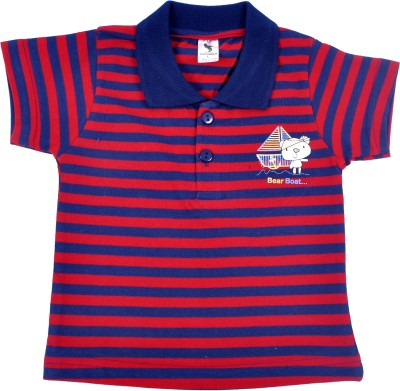 Cucumber Printed Baby Boy's Polo Neck Red, Blue T-Shirt