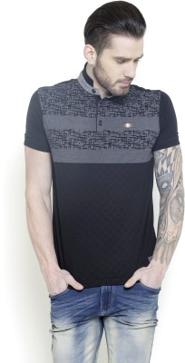 Metal Gear Printed Men's Polo Neck Black T-Shirt
