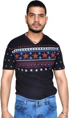 allrugget Printed Boy's V-neck Black, Red, Light Blue T-Shirt