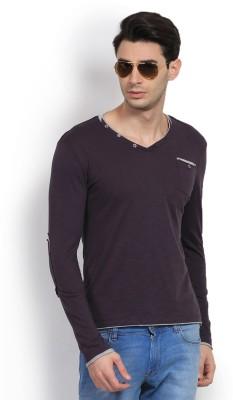 GAS Solid Men's V-neck Purple T-Shirt