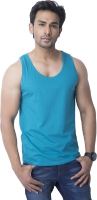Cult Fiction Solid Men's Round Neck Blue T-Shirt