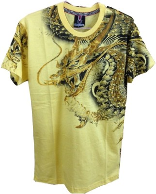 Rools Printed Men's Round Neck Yellow T-Shirt