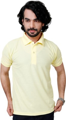 Elligator Solid Men's Polo Neck Yellow T-Shirt