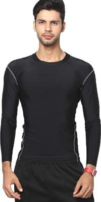 T10 Sports Solid Men's Round Neck Black T-Shirt