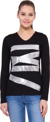 Alibi By INMARK Printed Women's V-neck Black T-Shirt