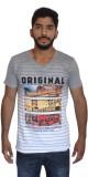 Uniqe Printed Men's V-neck Grey T-Shirt