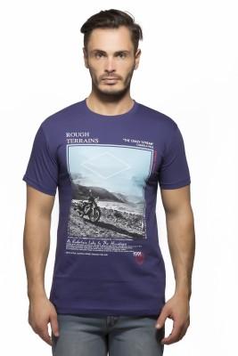 Yo Republic Printed Men's Round Neck Purple T-Shirt