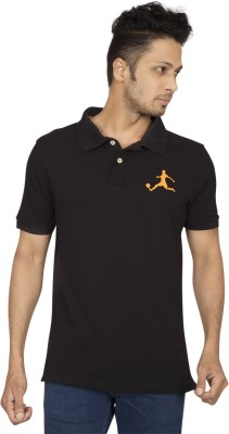Red Line Solid Men's Polo Black T-Shirt