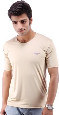 Being Champion Solid Men's Round Neck Beige T-Shirt