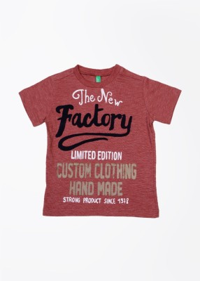 United Colors of Benetton Printed Boy's Round Neck Red T-Shirt