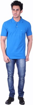 SEABOARD Solid Men,s Polo Neck Blue T-Shirt