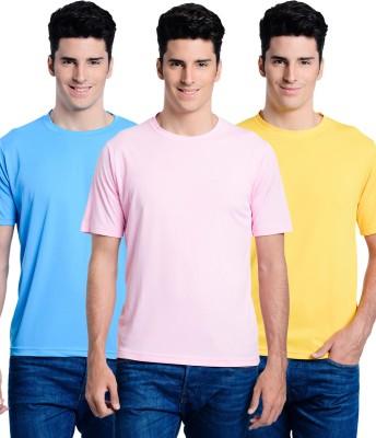 Superjoy Solid Men's Round Neck Light Blue, Yellow, Pink T-Shirt