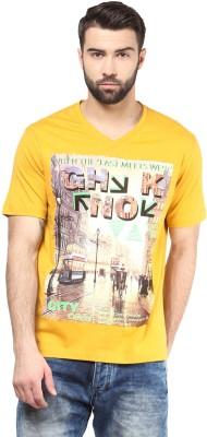 FUNK Printed Men's V-neck Yellow T-Shirt