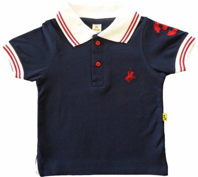 Tiny Bee Embroidered Boy,s Polo Dark Blue T-Shirt