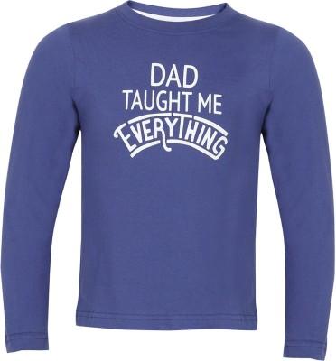 Tickles Printed Boy's Round Neck Blue T-Shirt