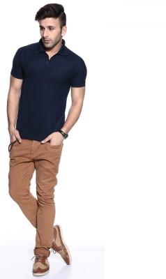 Purys Solid Men,s Polo Dark Blue T-Shirt