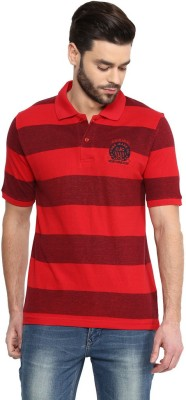COBB Striped Men's Polo Neck Red T-Shirt