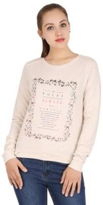 Xiomi Printed Women's Round Neck Beige T-Shirt
