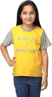 NautieCutie Printed Girl's Round Neck Yellow T-Shirt