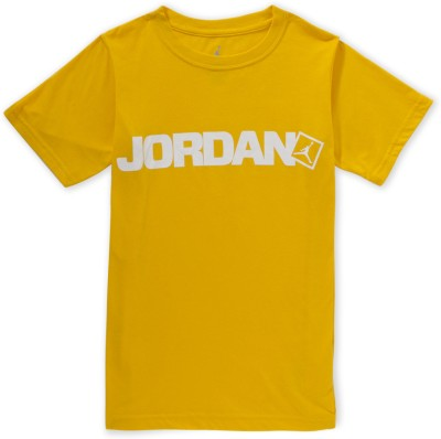 Jordan Graphic Print Boy's Round Neck Yellow T-Shirt
