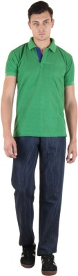 COASTER Solid Men's Polo Neck Green T-Shirt