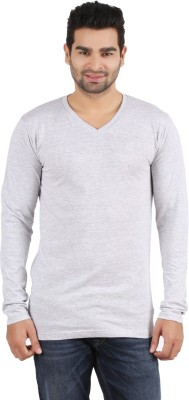 R - Cross Solid Men's V-neck Grey T-Shirt