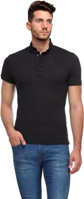 Flippd Solid Men's Polo Neck Black T-Shirt