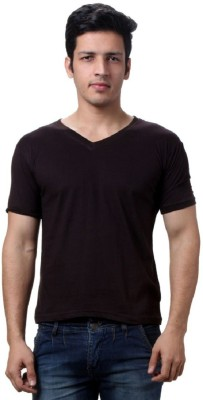 Lime Solid Men's V-neck Black T-Shirt