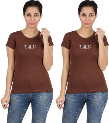 Twin Birds Printed Women's Round Neck T-Shirt