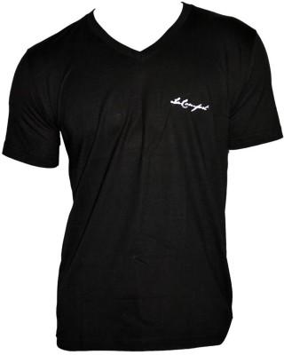LaKomfort Solid Men's V-neck Black T-Shirt