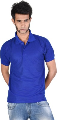 Whistle Solid Men's Polo Neck Blue T-Shirt