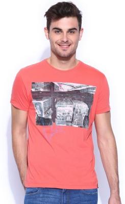 Lee Graphic Print Men's Round Neck Orange T-Shirt