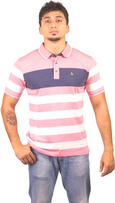 Lionel Striped Men's Polo Neck Pink T-Shirt