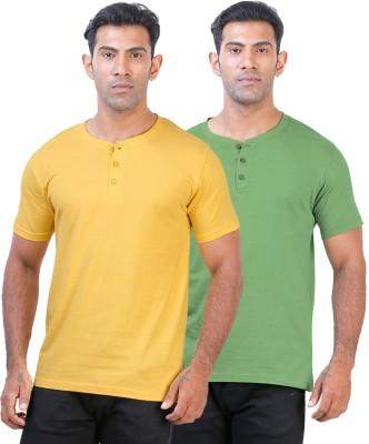 Click Hit Solid Men's Henley Yellow, Green T-Shirt
