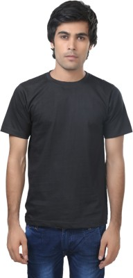 Louis Mode Solid Men's Round Neck Black T-Shirt