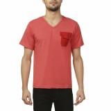 Ashdan Solid Men's V-neck Red T-Shirt