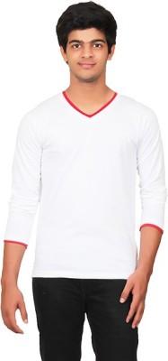 Graceful Self Design Men's V-neck White T-Shirt
