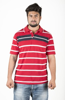 UFC Mart Striped Men's Polo Neck Red T-Shirt