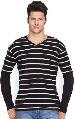 Hypernation Striped Men's V-neck Black, White T-Shirt