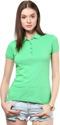 Trend18 Solid Women's Polo Neck Green T-Shirt
