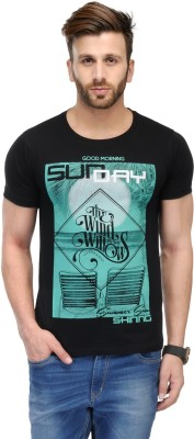 Ausy Solid, Printed Men's Round Neck Black T-Shirt