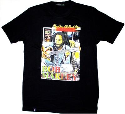 99DailyDeals Printed Men,s Round Neck Black T-Shirt
