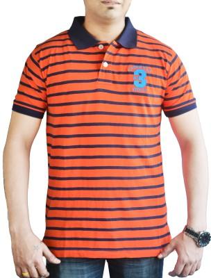 CAPRICIOUS Striped Men's Polo Neck Orange, Dark Blue T-Shirt