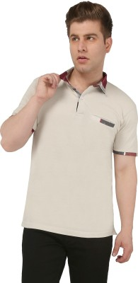 Nick & Jess Solid Men's Polo Beige T-Shirt