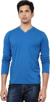La Seven Solid Men's V-neck Light Blue T-Shirt